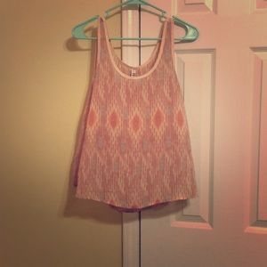 Flowy Pink and Blue Aztec Print Tank
